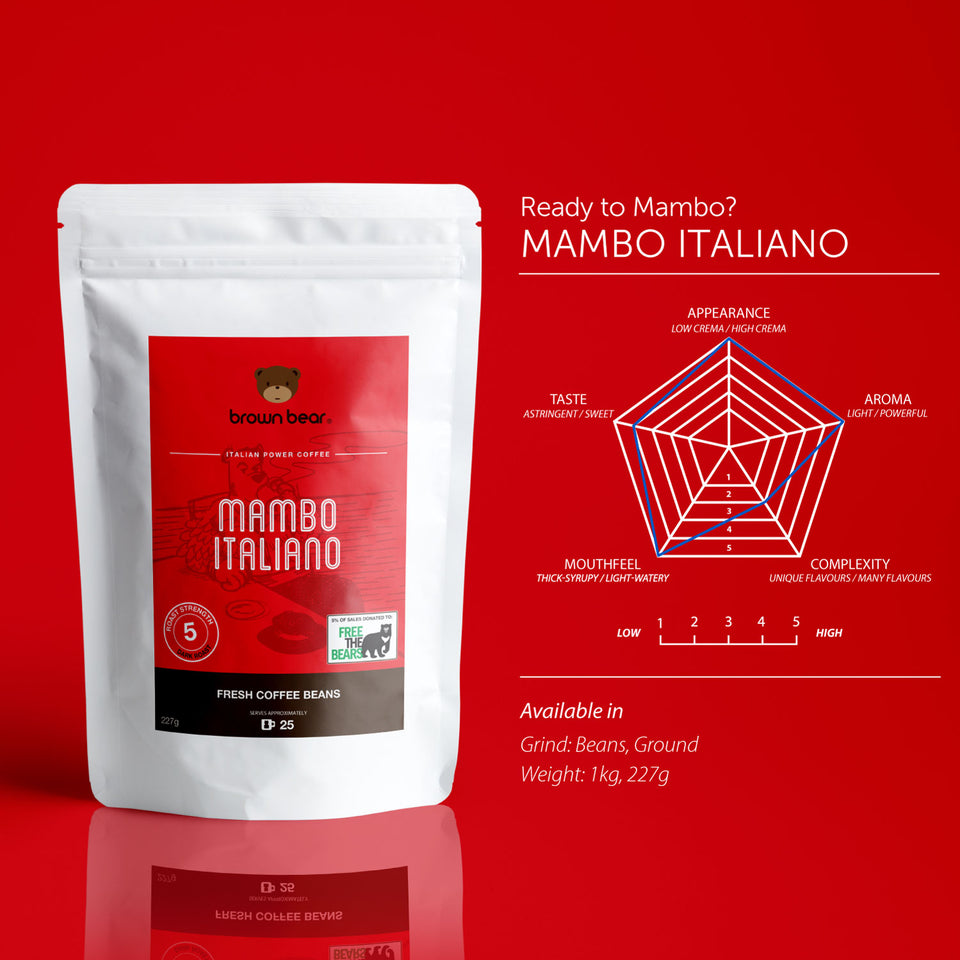 Brown Bear Mambo Italiano Espresso Coffee, Dark Roast, Strength 5 - Brown Bear Coffee
