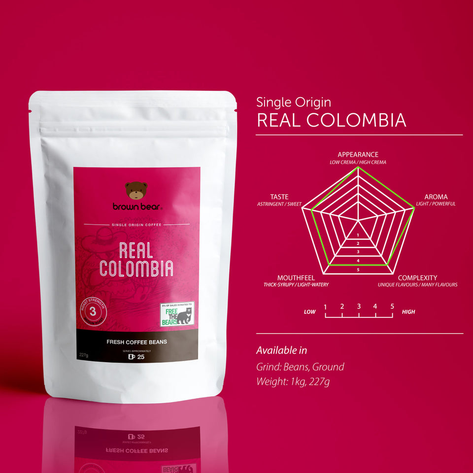 Brown Bear Real Colombia Coffee, Strength 3, Medium Roast.