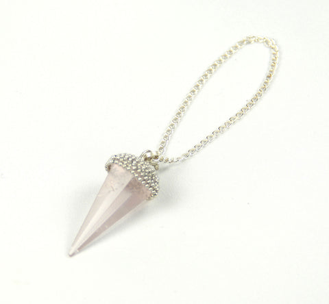 Pink Rose Quartz Crystal Point Charm