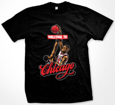 Pippen Dunks on Ewing Welcome To Chicago T-Shirt