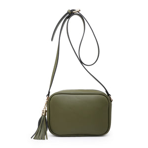Plain Camera Style Bag with Tassle Detail in Khaki Green