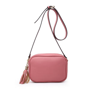 Plain Camera Style Bag with Tassle Detail in Pink