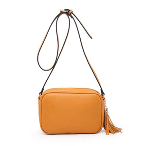 Plain Camera Style Bag with Tassle Detail in Mustard