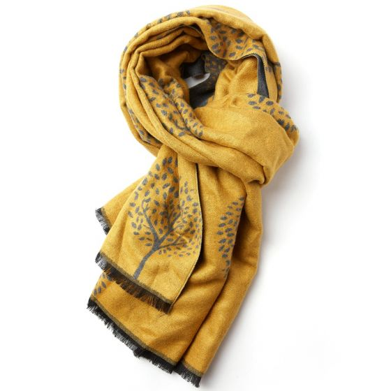 Reversible Mulberry Tree Scarf in Yellow & Grey