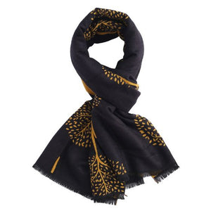 Reversible Mulberry Tree Scarf in Black & Yellow