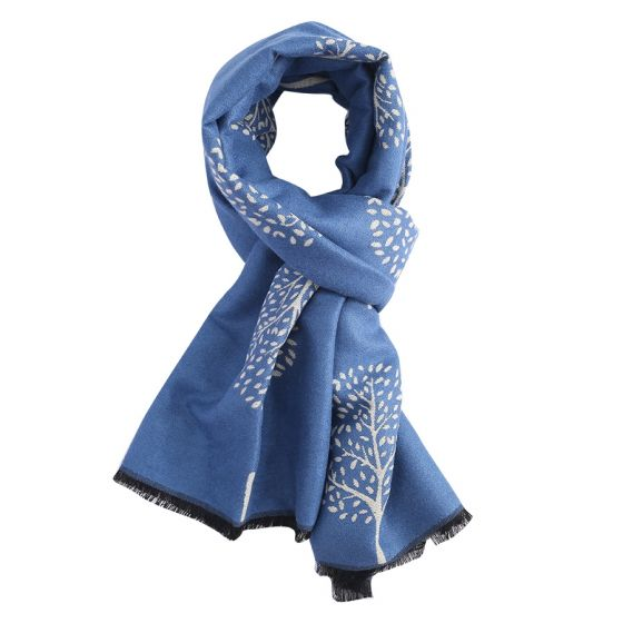 Reversible Mulberry Tree Scarf in Denim Blue & Cream