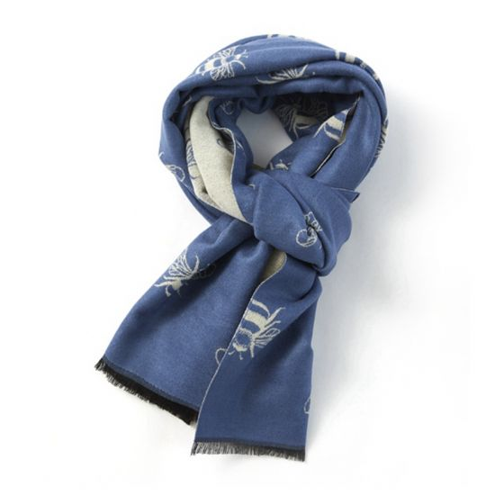Reversible Bee Scarf in Denim Blue & Cream