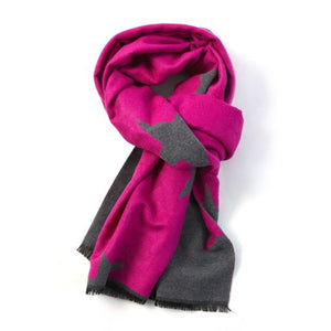 Reversible Star Scarf in Grey & Hot Pink