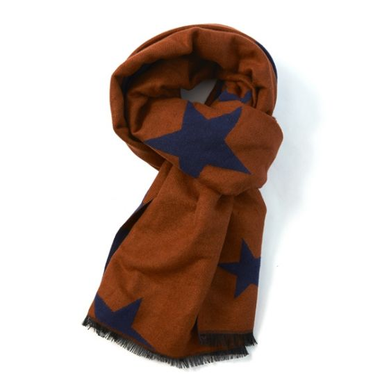 Reversible Star Scarf in Burnt Orange & Navy