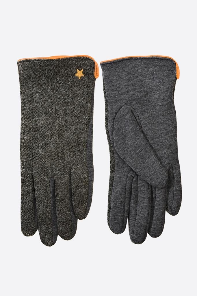 Charcoal Gloves with Star Detail in Mustard