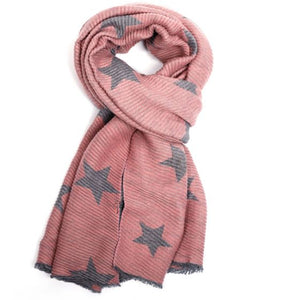 Reversible Crinkle Star Scarf in Light Pink & Grey
