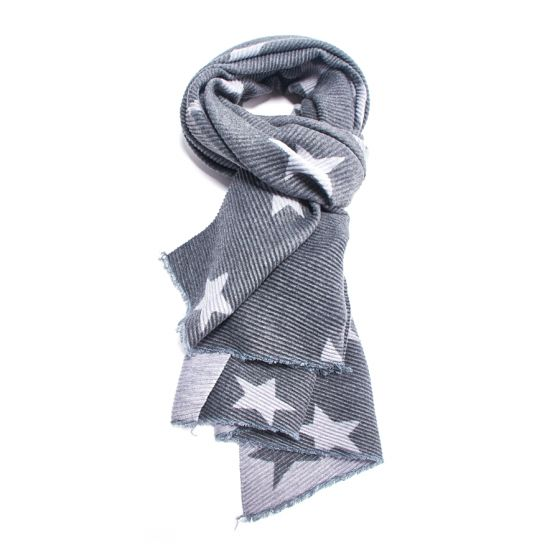 Reversible Crinkle Star Scarf in Charcoal & Light Grey