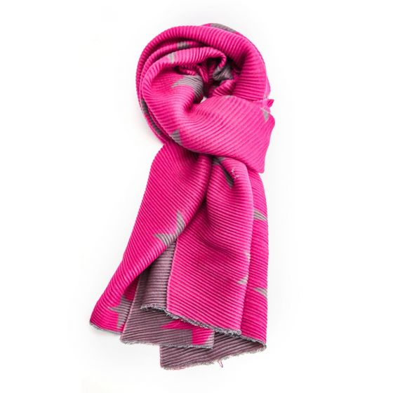Reversible Crinkle Star Scarf in Hot Pink & Grey