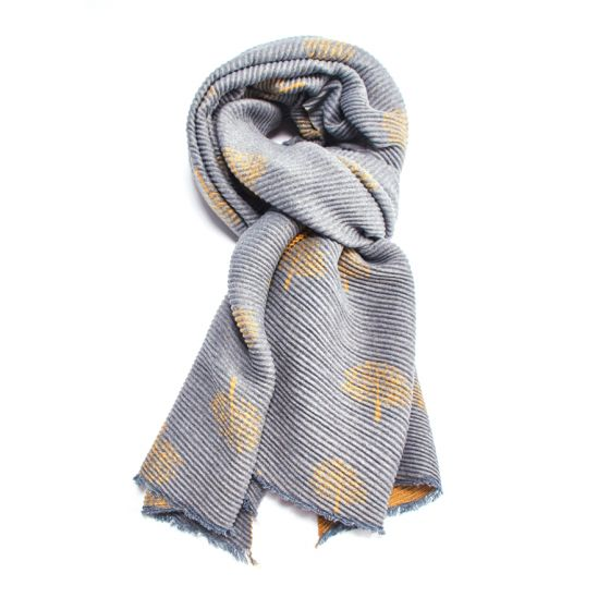 Reversible Crinkle Mulberry Tree Scarf in Yellow & Grey