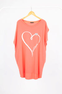 Oversized Love Heart Top with Heart Detail