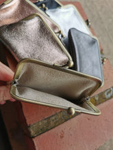Load image into Gallery viewer, Metallic Leather Coin Purse with Brass Clip Detail