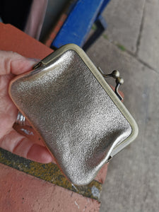 Metallic Leather Coin Purse with Brass Clip Detail