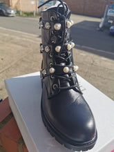 Load image into Gallery viewer, Pearl Detail Biker Boot in Black