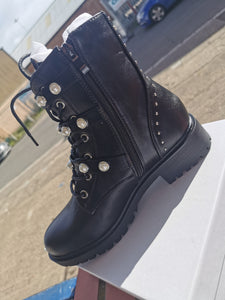 Pearl Detail Biker Boot in Black