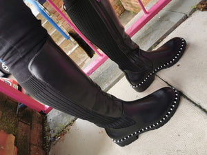 Black Long Boots with Pearl Studs