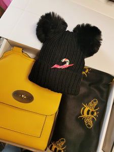 Yellow Flap Crossbody Bag with Black & Yellow Bee Scarf and Double Pom Hat