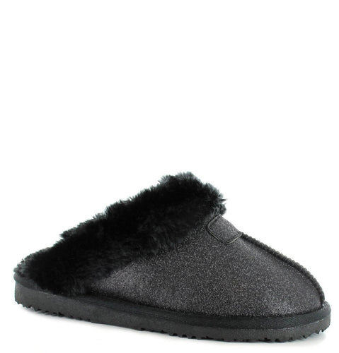 Faux Sheepskin Mule Slippers in Black Sparkle