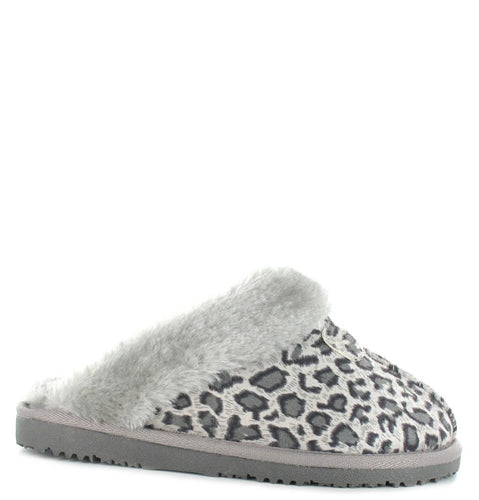 Faux Sheepskin Mule Slippers in Grey Leopard Print