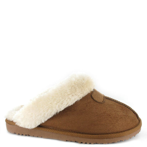 Faux Sheepskin Slippers in Chestnut