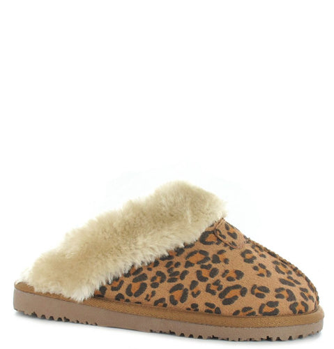 Faux Sheepskin Mule Slippers in Tan Leopard Print