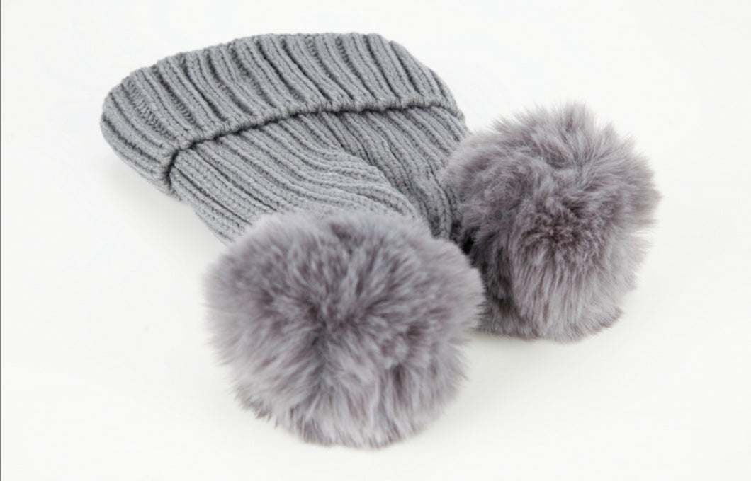 Fleece Lined Double Pom Pom Bobble Hat