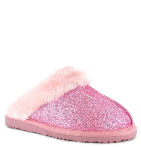 Faux Sheepskin Mule Slippers in Pink Sparkle