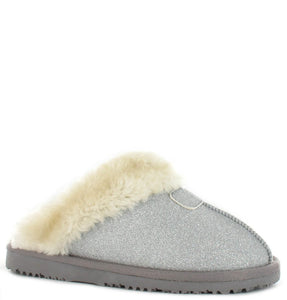 Faux Sheepskin Slippers in Silver