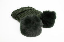 Load image into Gallery viewer, Fleece Lined Double Pom Pom Bobble Hat