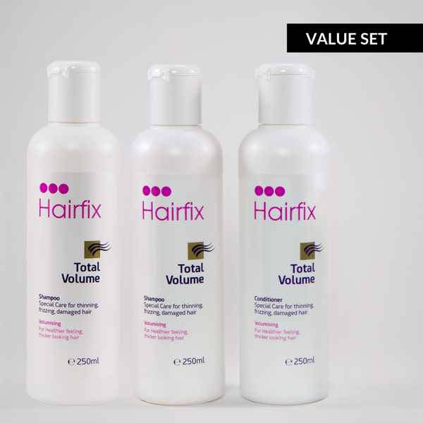 Hairfix Total Volume Thickening Shampoo & Conditioner - Value Set with Two Shampoos & One Conditioner - Hairfix