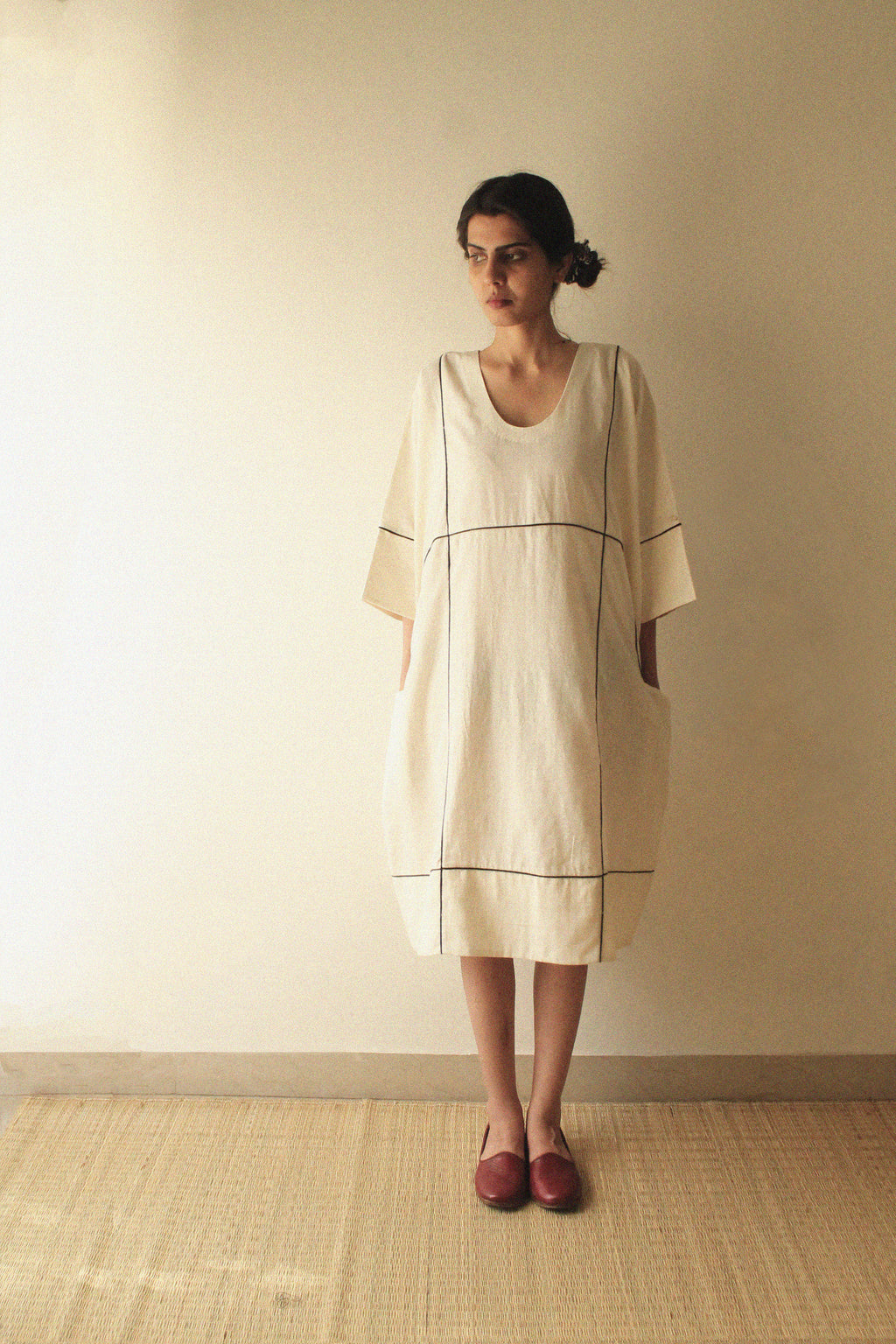 Loose Fit Grid Kaftan Dress