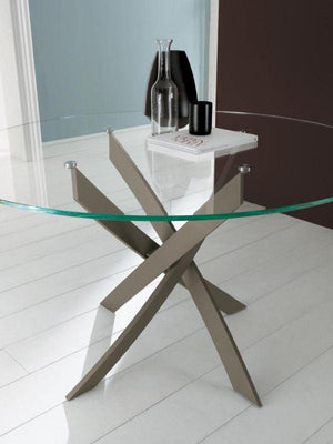 Bontempi Casa Dining Table Barone Round Glass Table 01.90