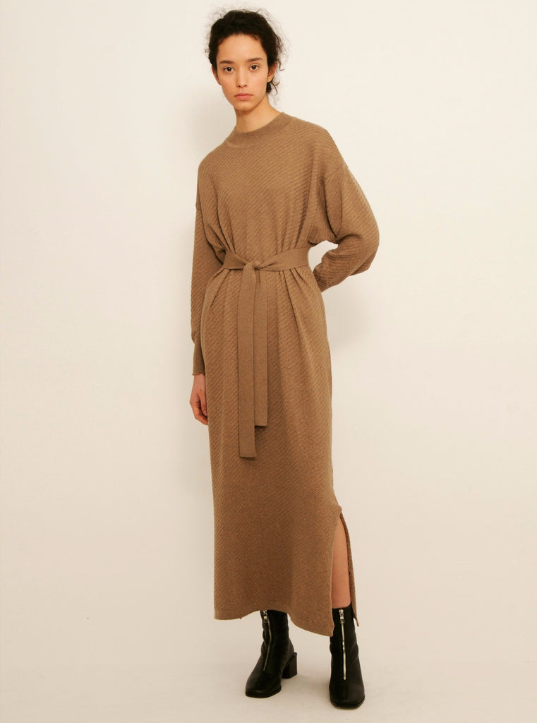 Diarte - Olaya Merino knit dress taupe