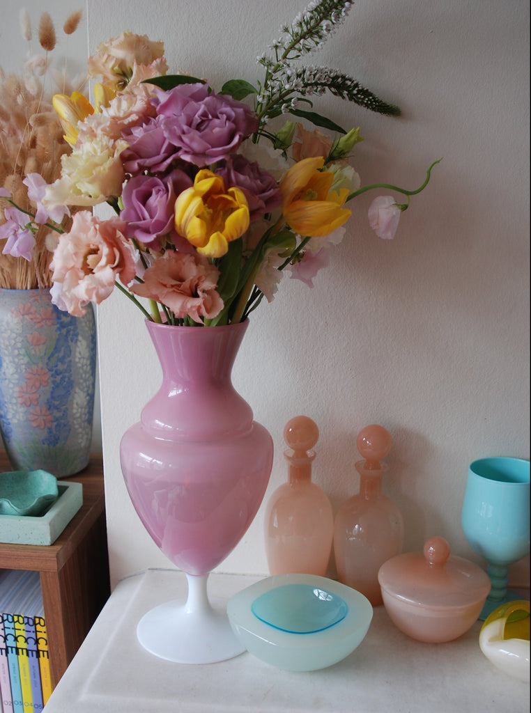 French Opaline Pink Balustre vase