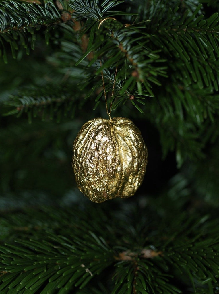 Coralie how - 22k gold leaf large walnut ornament