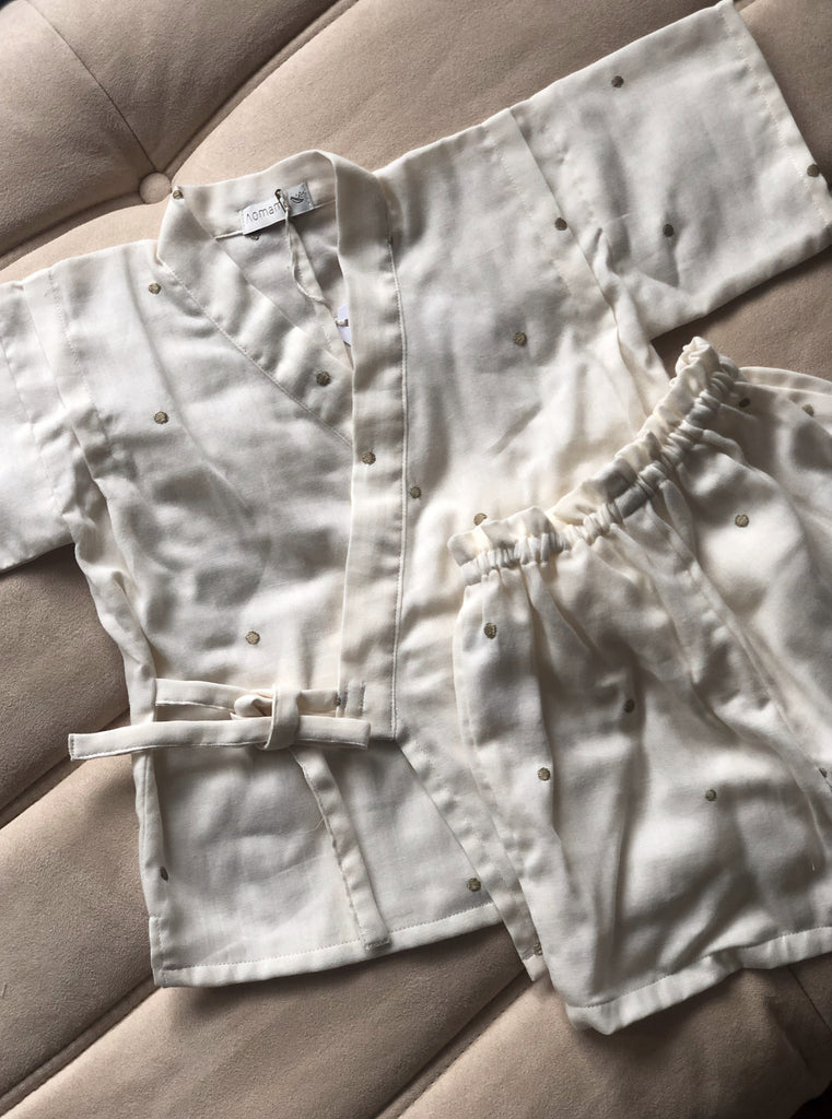 Aomamé - Mochi cotton Children's jinbei set