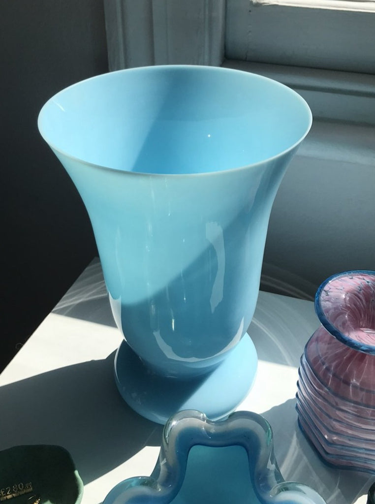 French Opaline Baby Blue vase