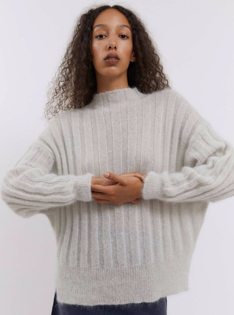Rus - Makura soft rib jumper Ice grey
