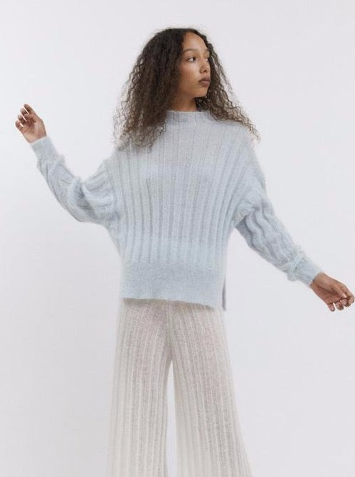 Rus - Makura soft rib jumper Pale Blue