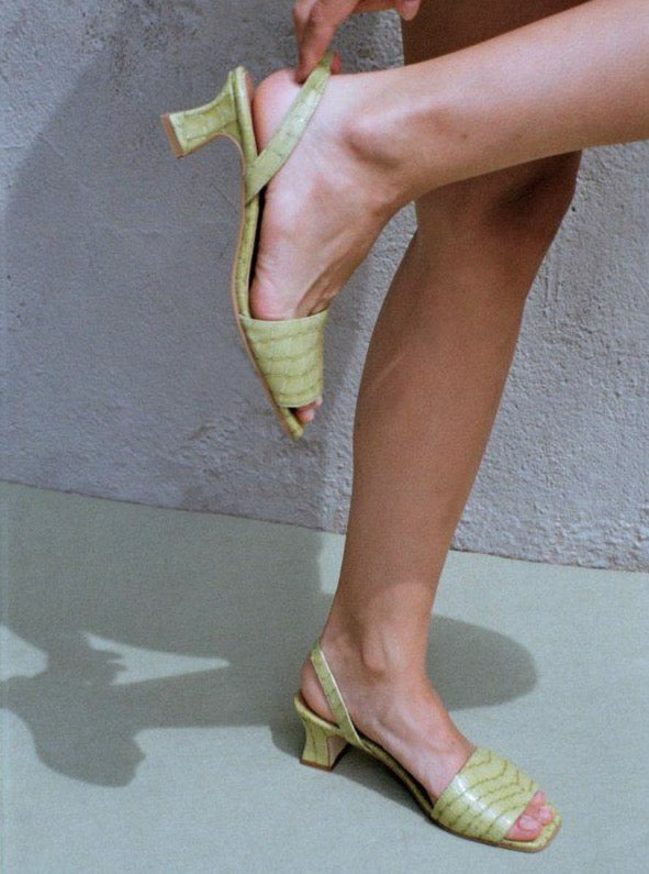About Arianne - Joan Lime green croc effect sandals