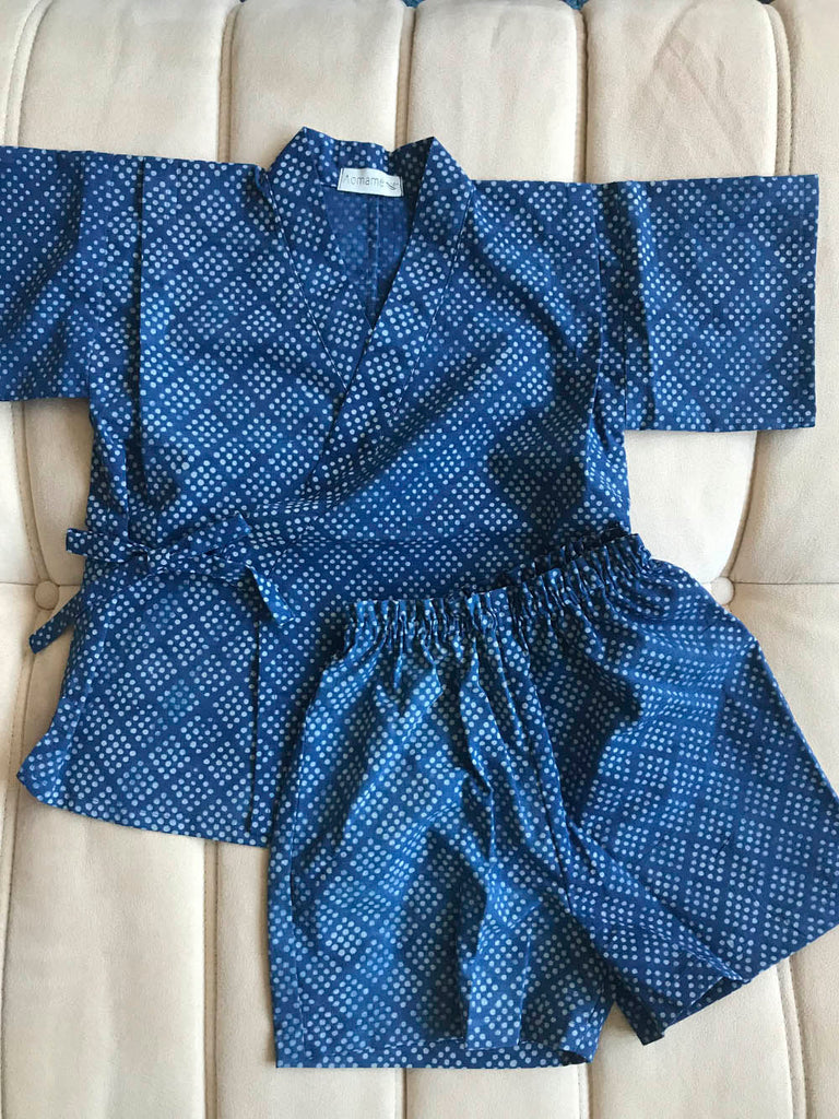 Aomamé - Sesame indigo cotton Children's jinbei set