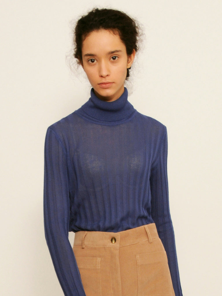 Diarte - ROSSI navy turtleneck sheer top