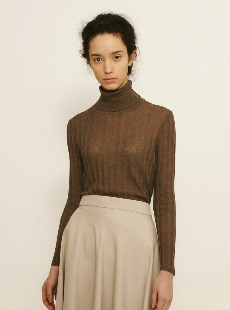 Diarte - ROSSI brown turtleneck sheer top