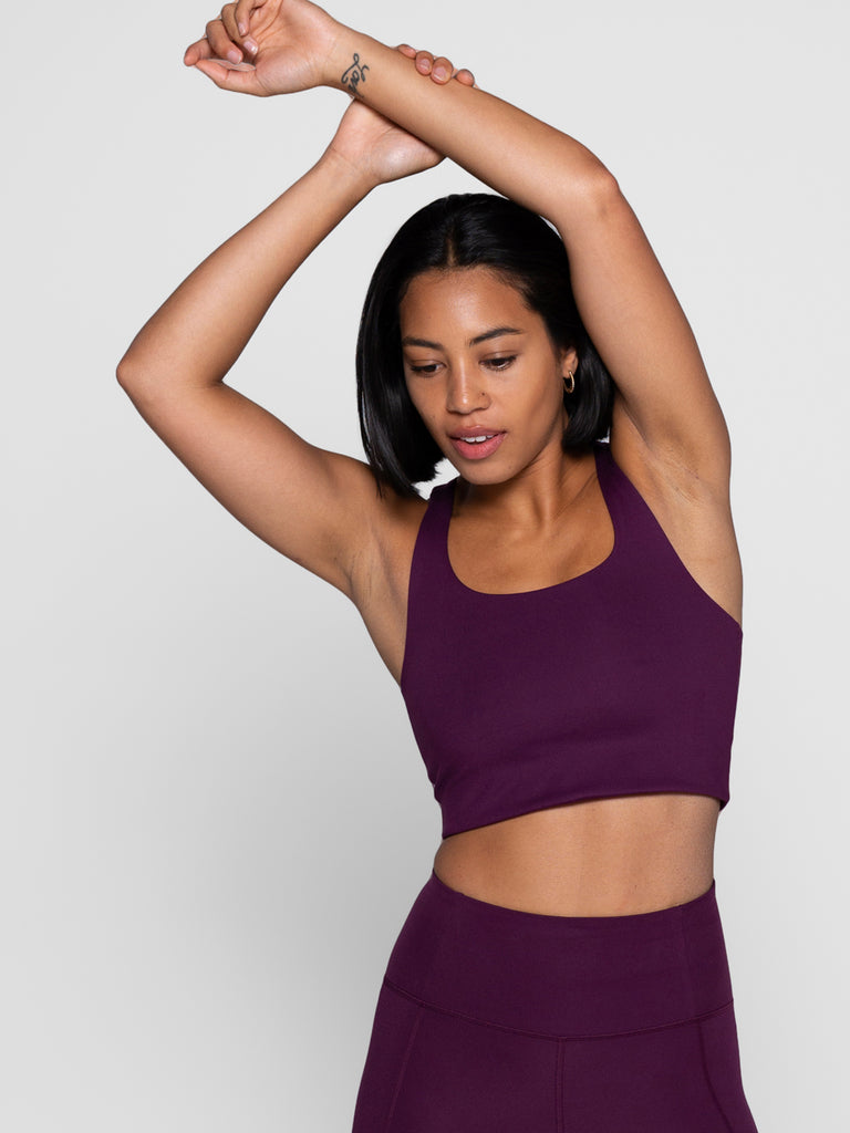 GIRLFRIEND COLLECTIVE paloma crop top compressive bra - Plum