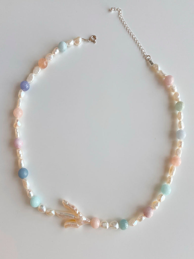 IRISS - The Marine necklace in Pearl & Morganite