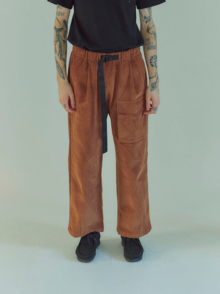 NEUL - Unisex corduroy webbing belt trousers brown